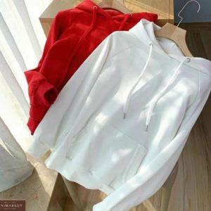 Заказать женское однотонное красного и белого цвета худи с рукавом реглан по скидке