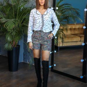 Приобрести серого цвета женские притованные шорты на высокой талии (размер 42-56) выгодно