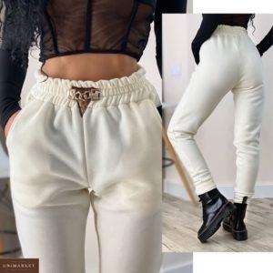 Заказать белые спортивные женские штаны на флисе с цепочкой (размер 42-52) недорого