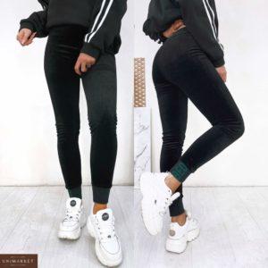 Приобрести по скидке женские штаны на меху из велюра рубчик (размер 42-52) черные