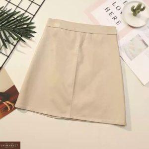 Заказать бежевую женскую базовую юбку мини из эко кожи онлайн