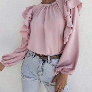 Приобрести онлайн женскую блузу из софта с длинным рукавом и рюшами (размер 42-56) цвета пудра