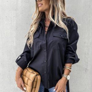 Купить недорого черную удлиненную рубашку из хлопка с карманами (размер 42-52) для женщин