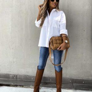 Приобрести белого цвета удлиненную рубашку из хлопка с карманами (размер 42-52) женскую выгодно