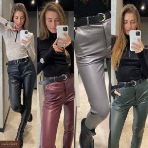 Купить черные, бордо, серые, зеленые брюки из эко кожи в интернете на флисе для женщин