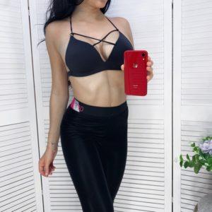 Заказать черный бюстгальтер женский с поролоном и лямками в интернете