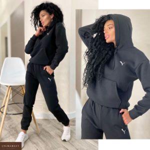 Заказать женский спортивный черный костюм с эмблемой Puma (размер 42-48) по скидке