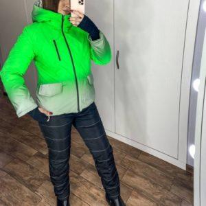 Заказать женский салатовый лыжный костюм со светоотражающим эффектом (размер 42-56) по скидке