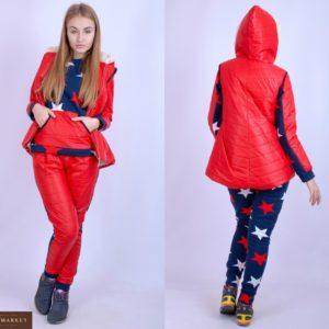 Приобрести красный лыжный женский костюм тройка с жилеткой онлайн
