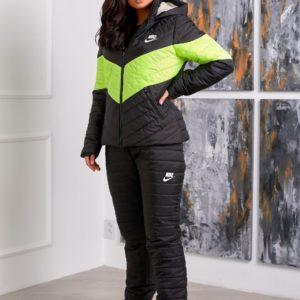 Приобрести черный-салатовый зимний лыжный костюм женский Nike (размер 42-48) по скидке