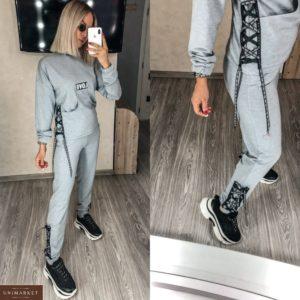 Заказать женский серый прогулочный костюм со шнуровкой love (размер 42-56) по скидке