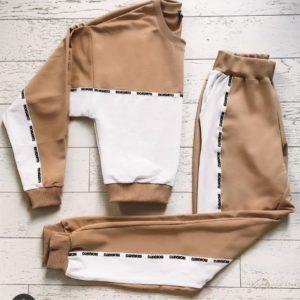 Купить женский мокко трендовый спортивный костюм из двухнитки онлайн