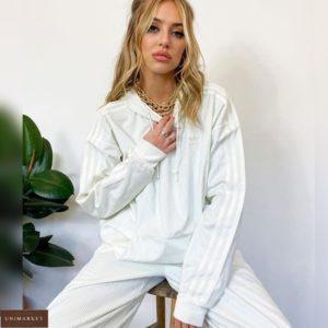 Приобрести онлайн женский спортивный костюм из вельвета (размер 42-48) белого цвета