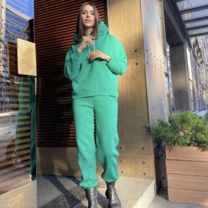 Купить зеленый теплый костюм с худи без карманов (размер 42-52) в интернете для женщин