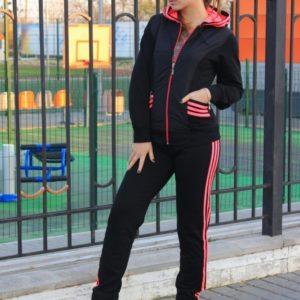 Приобрести онлайн женский спортивный костюм на змейке (размер 42-50) красного цвета