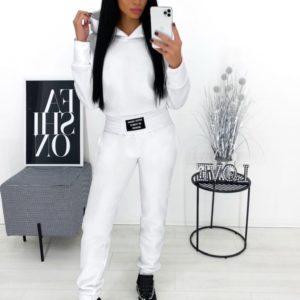 Заказать белый однотонный женский спортивный костюм на флисе (размер 42-48) по скидке