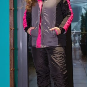 Заказать в интернете женский Лыжный костюм на молнии с капюшоном (размер 44-58) розового цвета