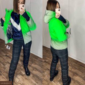 Купить недорого женский лыжный костюм со светоотражающим эффектом (размер 42-56) салатового цвета