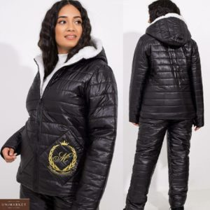 Заказать лыжный костюм черный с мехом овчины (размер 42-56) для женщин выгодно