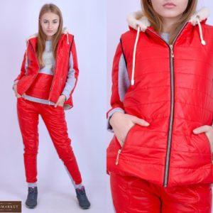 Купить лыжный дешево костюм тройка красного цвета с жилеткой для женщин
