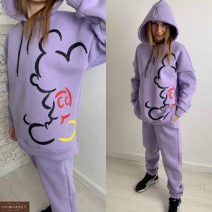 Купить на распродаже женский тёплый спортивный костюм с силуэтом Микки Мауса (размер 42-48) лилового цвета