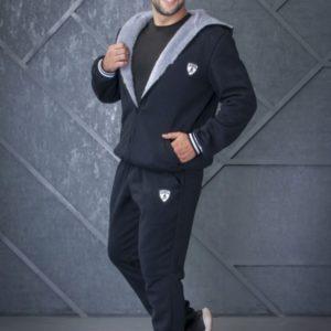 Купить синий мужской спортивный костюм с капюшоном с теплым мехом (размер 44-56) онлайн