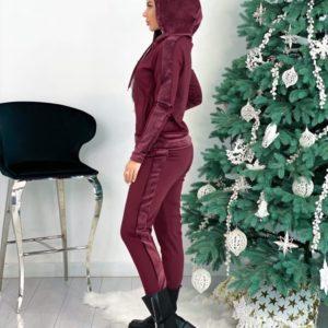 Приобрести онлайн женский велюровый костюм на змейке с капюшоном (размер 42-48) цвета бордо