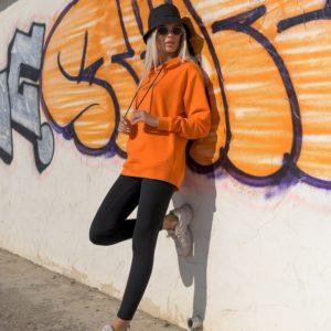 Заказать спортивный костюм оранжевого цвета LiLove: батник с лосинами (размер 42-56) для женщин выгодно