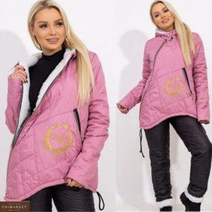 Приобрести по скидке розовый женский лыжный костюм с овчиной в крупную стежку (размер 42-56)