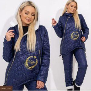 Купить синий женский лыжный костюм с овчиной в мелкую стежку (размер 42-56) по скидке