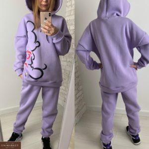Заказать дешево женский тёплый спортивный костюм с силуэтом Микки Мауса (размер 42-48) лилового цвета