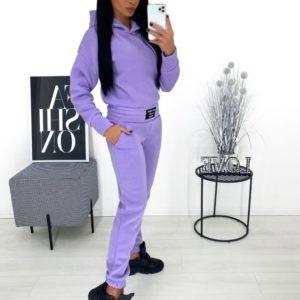 Заказать онлайн сиреневого цвета однотонный спортивный костюм на флисе (размер 42-48) женский