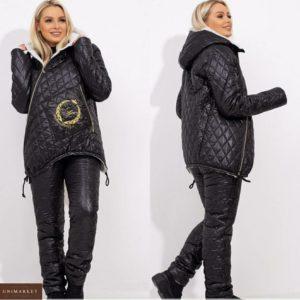 Заказать на зиму черный лыжный костюм для женщин с овчиной в мелкую стежку (размер 42-56) в интернете
