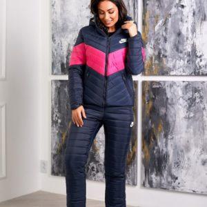 Купить сине-розовый женский зимний лыжный костюм Nike (размер 42-48) в интернете