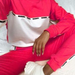 Приобрести выгодно женский трендовый спортивный костюм из двухнитки розовый