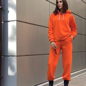 Купить оранжевый теплый костюм выгодно с худи без карманов (размер 42-52) для женщин
