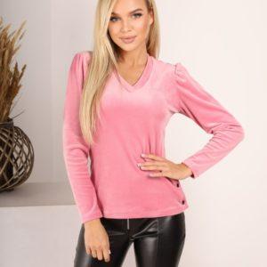 Заказать розовую бархатную женскую кофту с длинным рукавом фонариком (размер 42-52) онлайн
