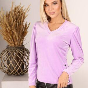 Купить лилового цвета бархатную кофту онлайн с длинным рукавом фонариком (размер 42-52) для женщин