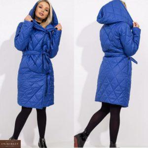 Заказать женскую стеганую куртку цвета электрик на запах на завязках с поясом (размер 42-48) недорого
