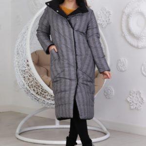 Купить выгодно женскую удлиненную двухстороннюю куртку на заклепках (размер 42-48) серо-черную