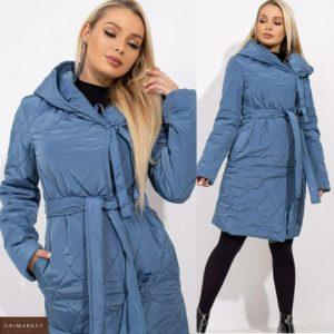 Приобрести голубую женскую стеганую куртку на запах на завязках с поясом (размер 42-48) в Украине