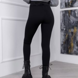 Купить выгодно черные леггинсы с поясом из велюра на меху (размер 42-48) для женщин