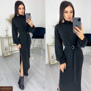 Заказать черного цвета женское теплое платье из ангоры с разрезами (размер 42-52) по низким ценам
