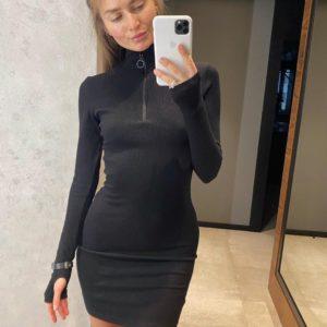 Купить черное платье-гольф со змейкой на груди для женщин онлайн