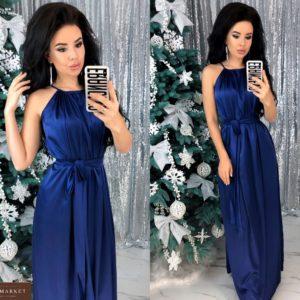 Купить синего цвета шелковое платье в пол онлайн с поясом (размер 42-48) для женщин