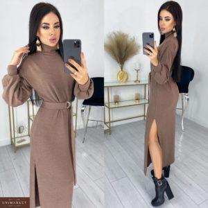 Купить мокко теплое женское платье из ангоры с разрезами (размер 42-52) онлайн