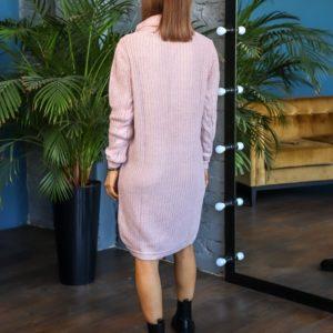 Приобрести недорого женское вязаное платье-свитер с люрексовой нитью (размер 44-50) цвета пудра