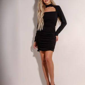 Купить черного цвета по скидке платье мини с длинным рукавом со сборкой (размер 42-48) для женщин