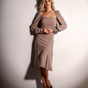 Приобрести онлайн бежевое платье миди с разрезом на ноге (размер 42-48) для женщин