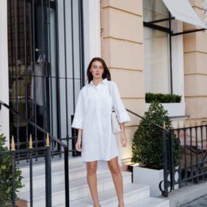 Купить белое женское платье-рубашка оверсайз (размер 42-48) недорого